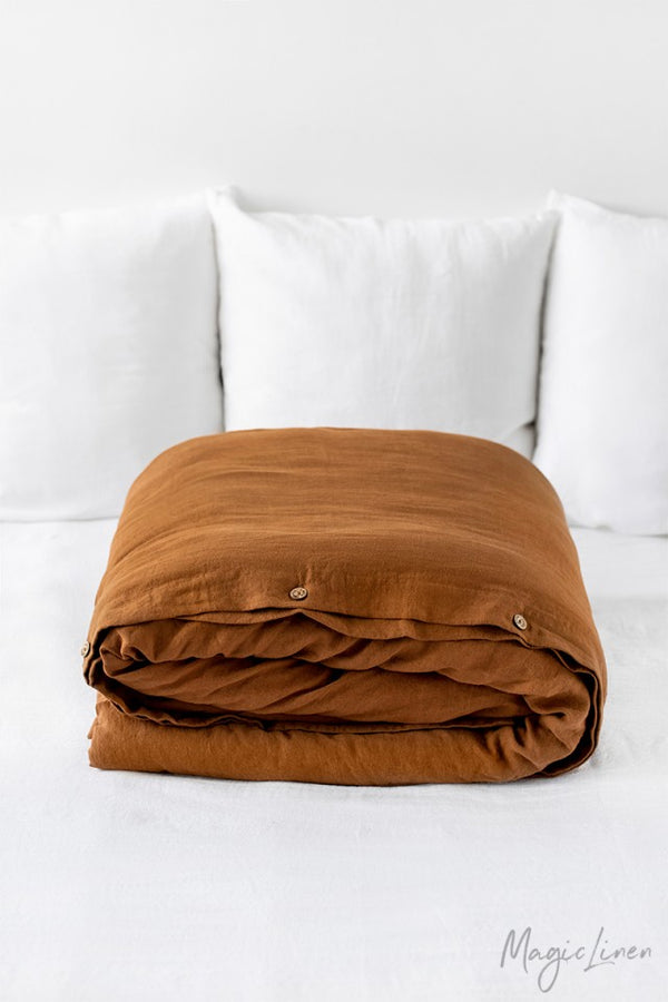 King Linen Duvet Cover in Cinnamon
