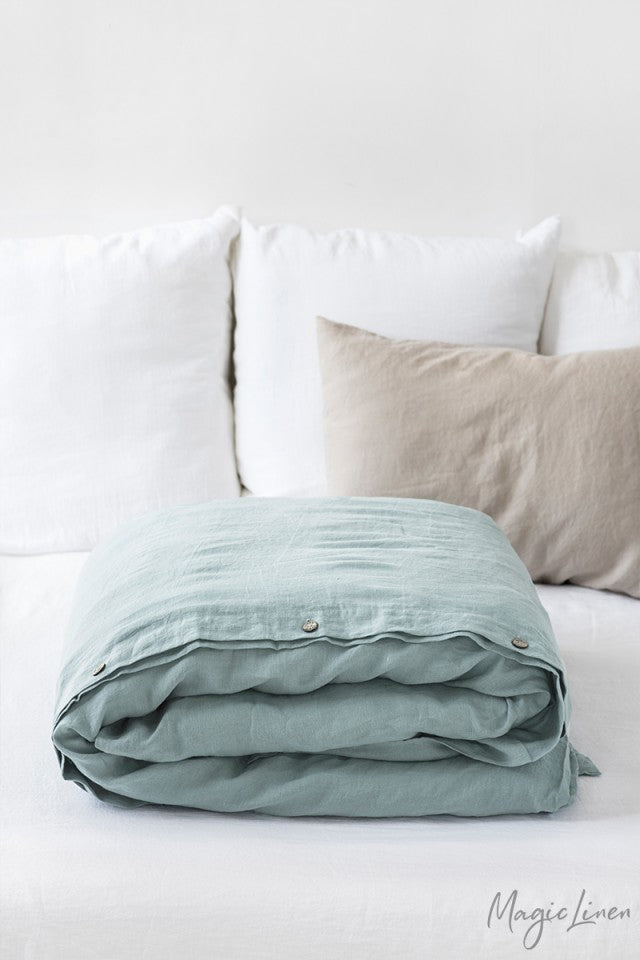 Twin Linen Duvet Cover in Dusty Blue