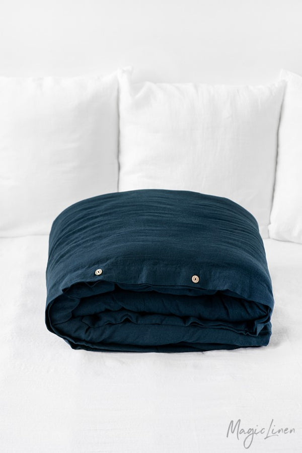 King Linen Duvet Cover in Navy Blue
