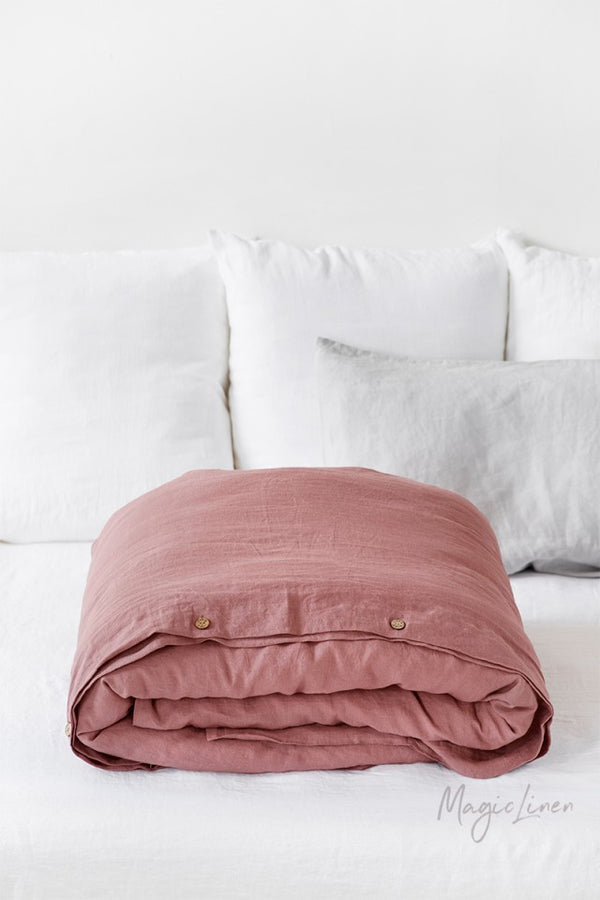 Twin Linen Duvet Cover in Rust Pink