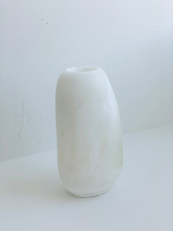 Small Resin Pebble Vase in White
