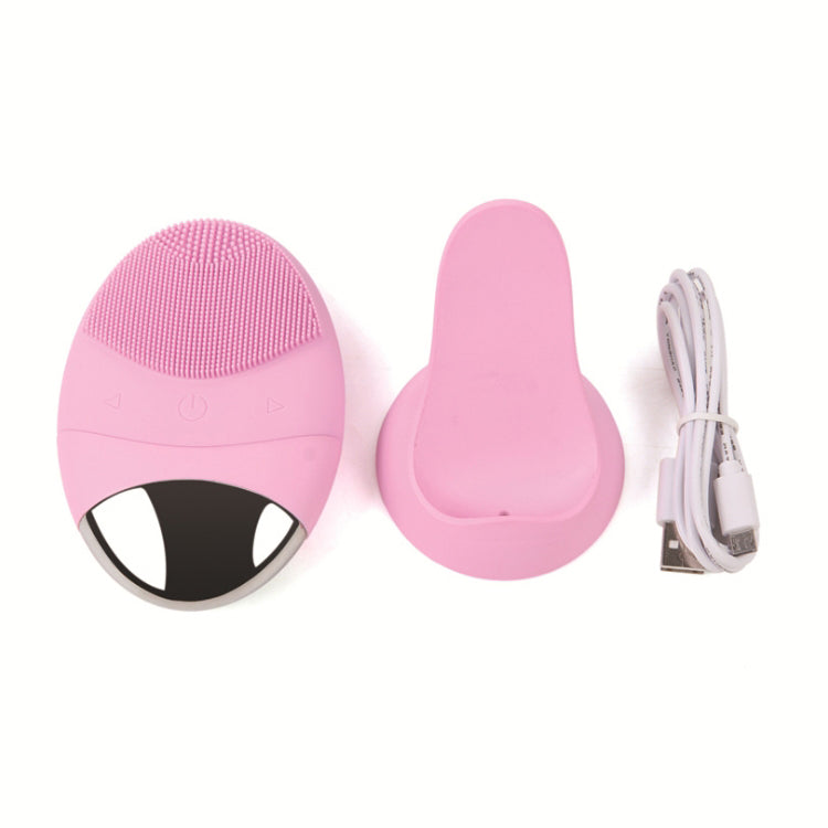 Electric Waterproof Sonic Vibration Silicone Deep Pore Cleaning Face Cleaner Massager Skin Care Facial Cleansing Brush
