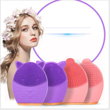 Load image into Gallery viewer, Mini Portable Waterproof Sonic Face Cleansing Washing Machine Massage Brush Electric Silicone Facial Cleanser Brush