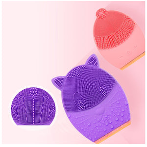 Mini Portable Waterproof Sonic Face Cleansing Washing Machine Massage Brush Electric Silicone Facial Cleanser Brush