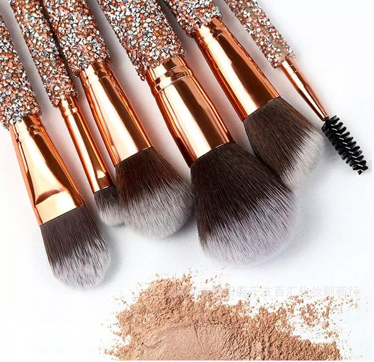 Make your own brand Rose golden Glitter make up brushes 10pcs Shiny Crystal diamond makeup brush set with PU bag