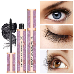Eyeliner & Mascara Set - 4D Silk Fiber Lash Mascara, Liquid Eyeliner Black/Waterproof Eyeliner Pencil and Mascara