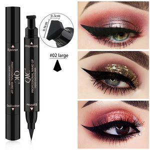 OEM Service Accepted eye makeup Custom no logo eyeliner quick drying Signet double head black liquid stamp eyeliner