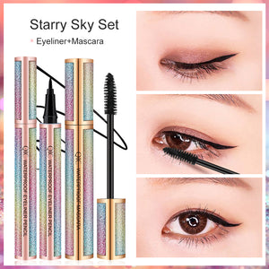 4D Silk Fiber Eyelash Mascara Precision Liquid Eyeliner Set