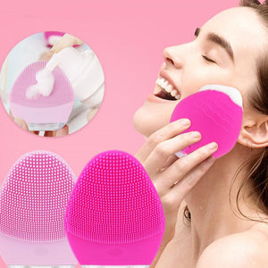 Mini Sonic Facial Cleansing Brush& Massager Silicone Rechargable Vibrating Waterproof Facial Cleansing