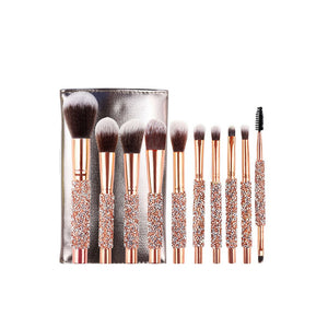 Rose golden Glitter Handle 10pcs crystal diamond foundation brush set with PU bag makeup brushes