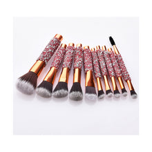 Load image into Gallery viewer, Make your own brand Rose golden Glitter make up brushes 10pcs Shiny Crystal diamond makeup brush set with PU bag