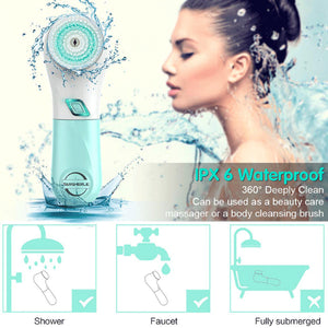 Rechargeable Facial Cleansing Spin Brush Set with 5 Exfoliation Brush Heads - Waterproof Face Spa System