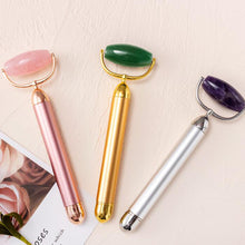 Load image into Gallery viewer, Electric Jade Facial Roller Massager Nature Rose Quartz Vibrating Face Roller