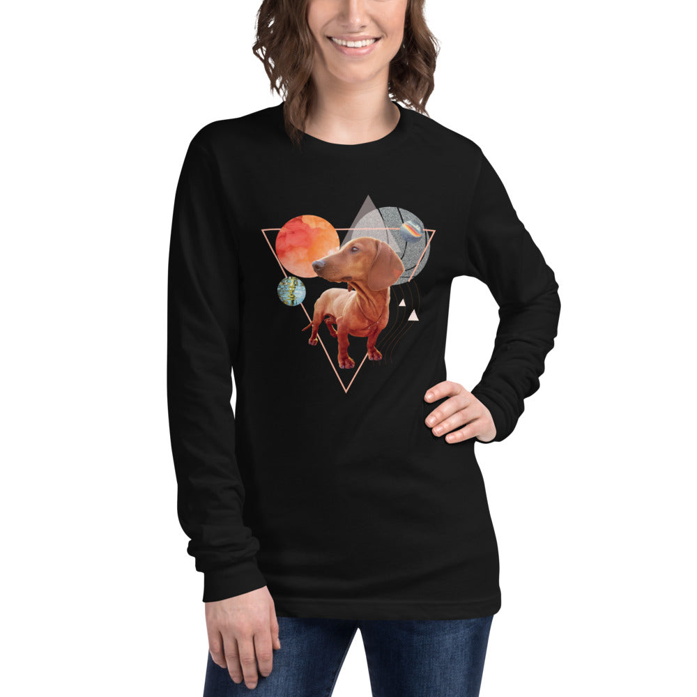 Women's Long Sleeve Dachshund Graphic T-Shirt