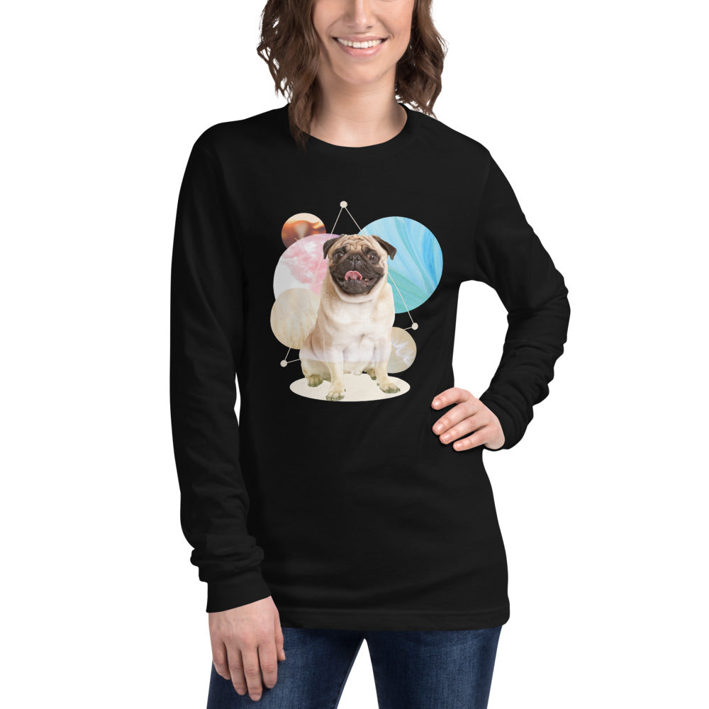 Women's Long Sleeve Pug Graphic T-Shirt