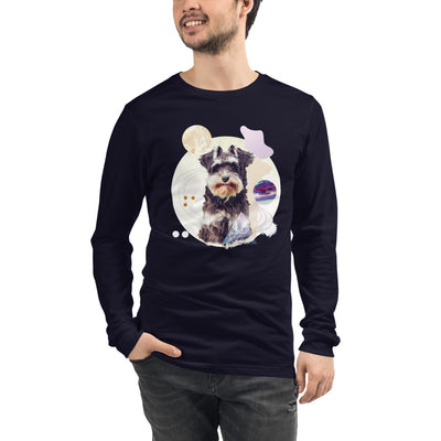 Space Pup Schnauzer Men's Long Sleeve T-Shirt