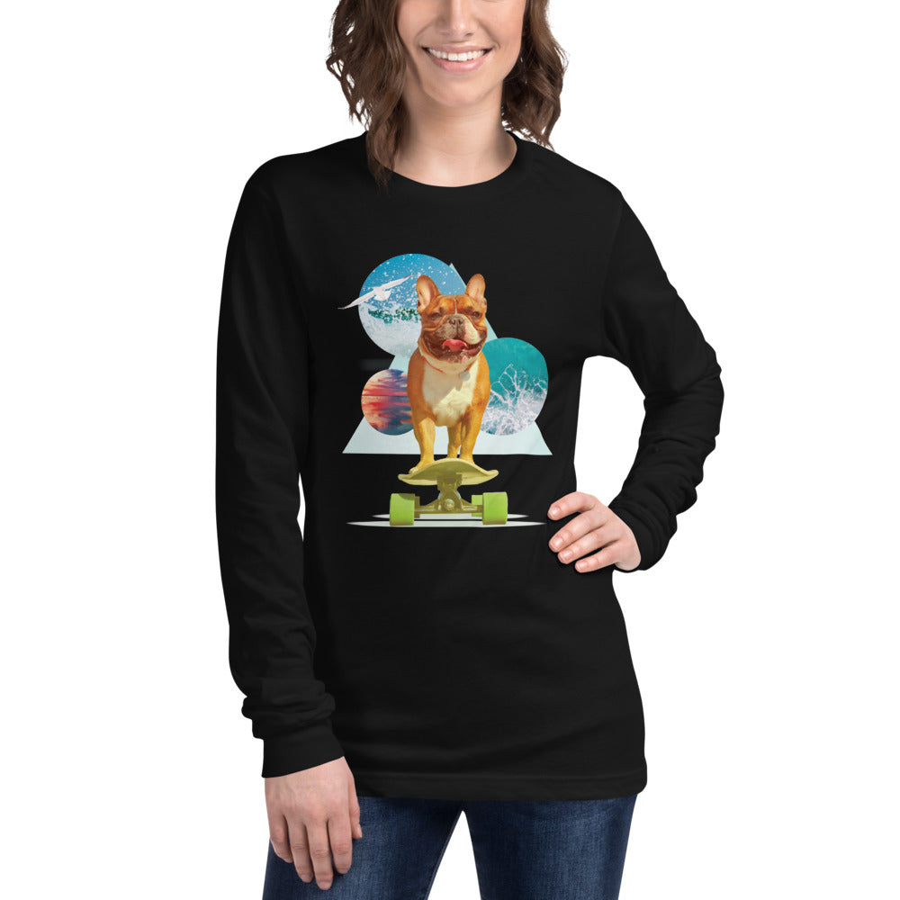 Women's Long Sleeve French Bulldog Graphic T-Shirt