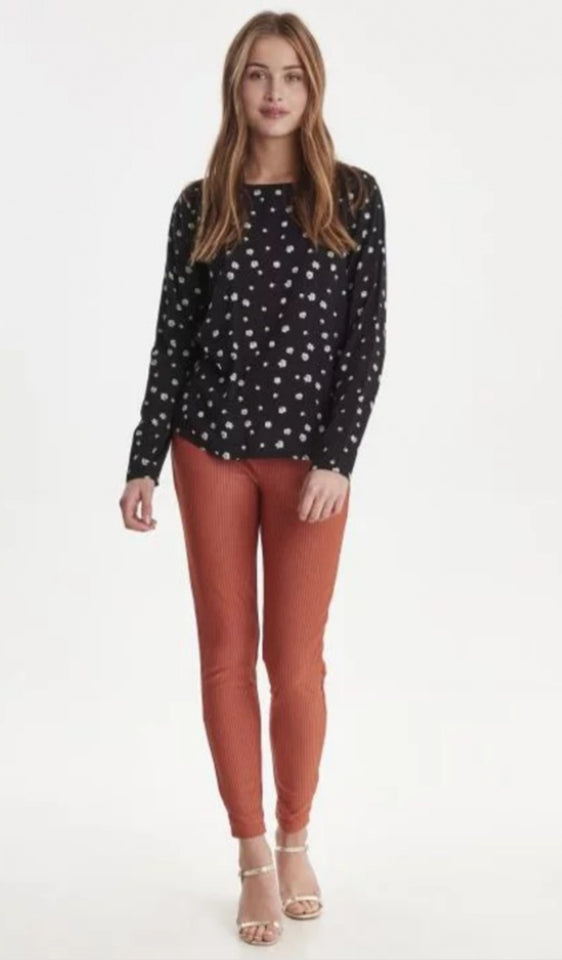Ichi Black Floral Long Sleeve Blouse