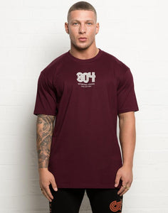 304 Mens Winter Retro T Shirt Maroon