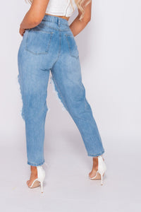 Light Blue Extreme Distressed High Waist Boyfriend Jeans