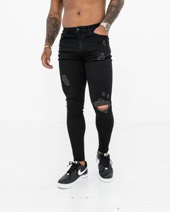 Super Skinny Spray On Jeans – Black Distressed