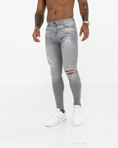 Super Skinny Spray On Jeans – Light Grey Distressed