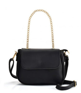 Simple Solid Color Chain Leather Saddle Bag