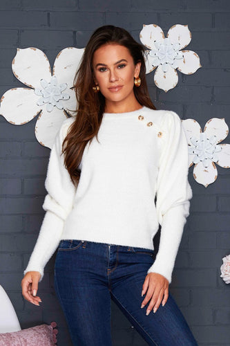 Savannah Fluffy Button Jumper Cream