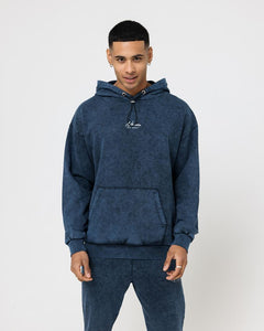 ESSENTIAL WASHED BOX FIT HOODIE - NAVY