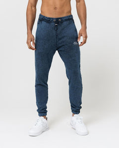 ESSENTIAL WASHED REGULAR FIT JOGGERS - NAVY