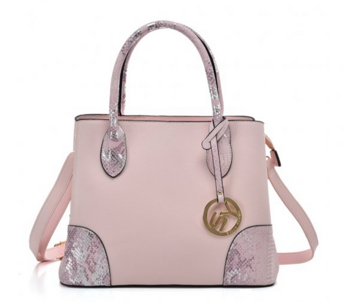 NEW PINK - Solid Color Simple Tote Bag With Handle And Bottom Sequins Design