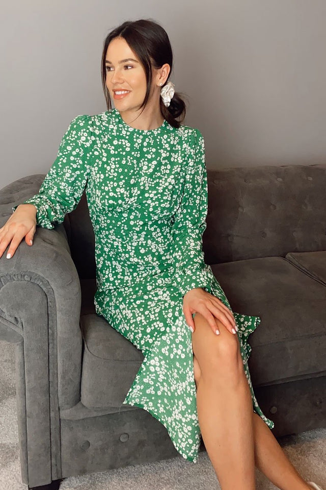 Cass Long Sleeves Split Leg Midi Dress Green Ditsy Floral