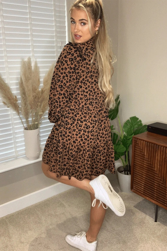 Hattie Frill Shoulder Smock Dress Brown Animal