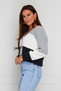 Vienna Striped Cropped Cardigan Grey