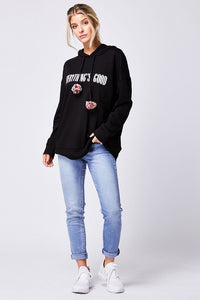 Black Multi Pom Hooded Jumper