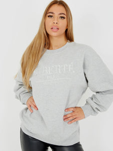 Embroidered Liberte Oversized Sweatshirt Jumper