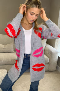 Cora Lip Print Cardigan Grey