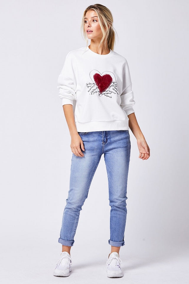 White Heart Embroidered Jumper