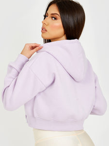 Zip Up Fleeced Cropped Cardigan Hoodie-Lilac