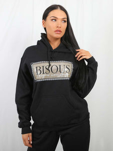 Bisous Print Oversized Fleeced Hoodie-Black