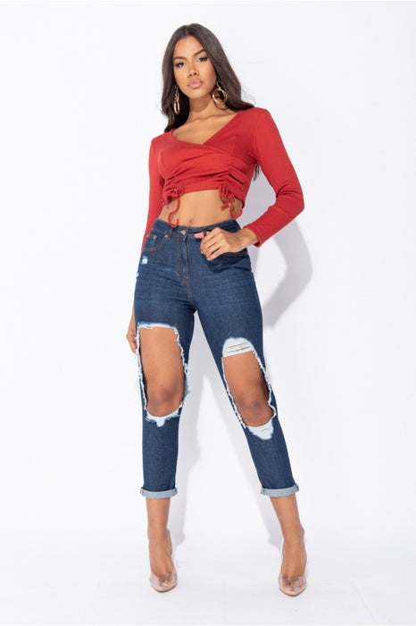 Indigo Extreme Distressed High Waist Boyfriend Jeans