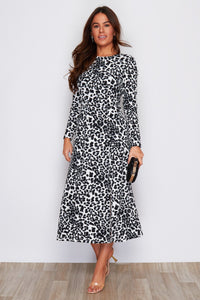 Peyton Long Sleeve Spilt Leg Midi Dress Leopard Print
