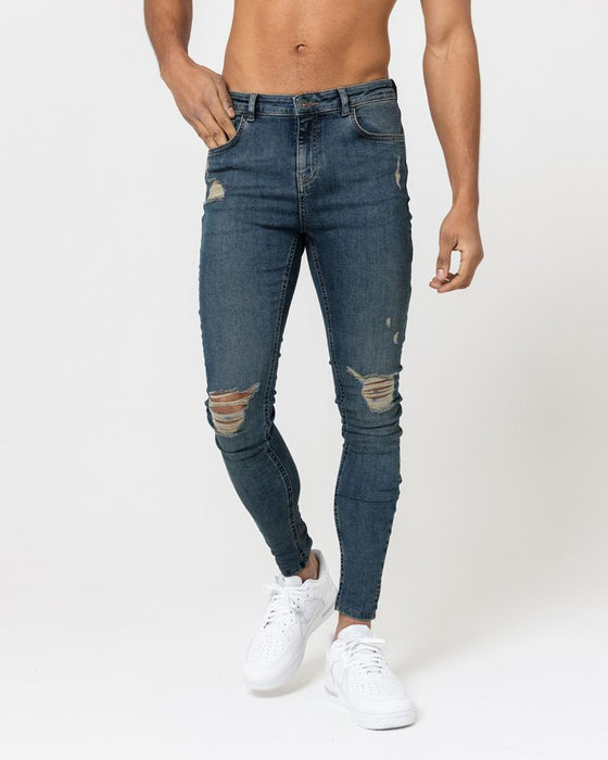SUPER SKINNY SPRAY ON JEANS – VINTAGE BLUE RIPPED & REPAIRED