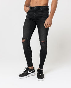 SUPER SKINNY SPRAY ON JEANS – WASHED BLACK RIPPED & REPAIRED