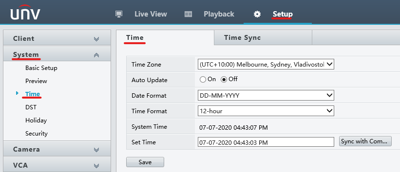 Uniview Setup Guide: System - Time
