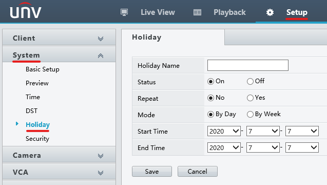 Uniview Setup Guide: System - Holiday