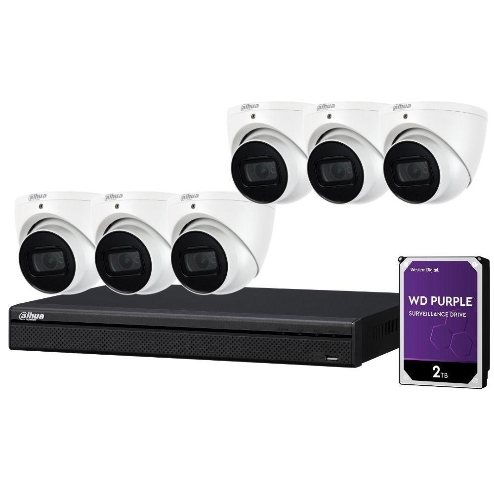 Dahua 8-Channel Security Kit: 8MP (Ultra HD) NVR, 6 x 6MP Fixed Turrets, WizSense + Starlight