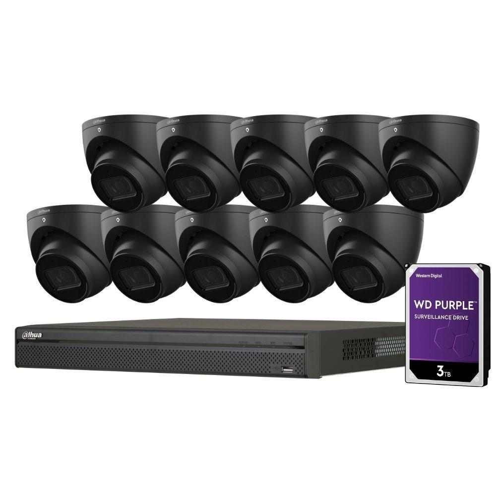 Dahua 16-Channel Security Kit: 8MP (Ultra HD) NVR, 10 x 6MP Fixed Turrets (Black), WizSense + Starlight