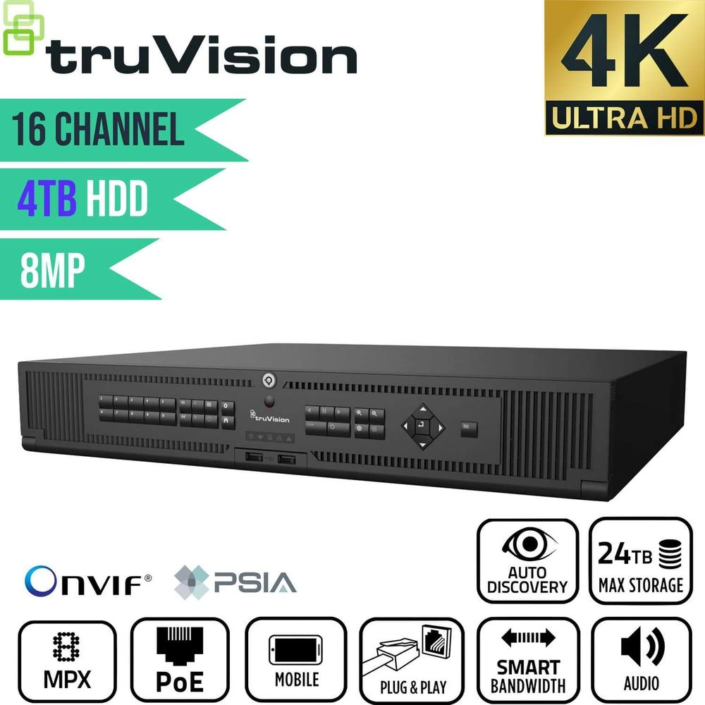 TruVision 16 Channel Network Video Recorder: 4K Ultra HD with 4TB HDD