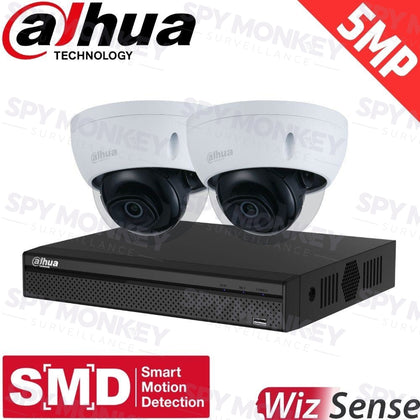 Dahua 4-Channel Security Kit: 8MP (Ultra HD) NVR, 2 X 5MP Fixed Dome, WizSense + Starlight